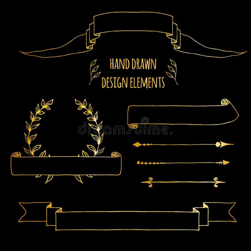 St?ll in av guld- handdrawn tappningbest?ndsdelar Band pilar, lagerkrans, sidadeviders Utdraget skissat f?r hand, vektor royaltyfri illustrationer