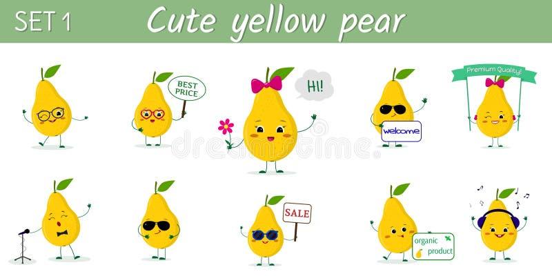 St?ll in av gullig kawaii tio som gula p?ronfrukttecken i olikt poserar och tillbeh?r i tecknad filmstil vektor royaltyfri illustrationer