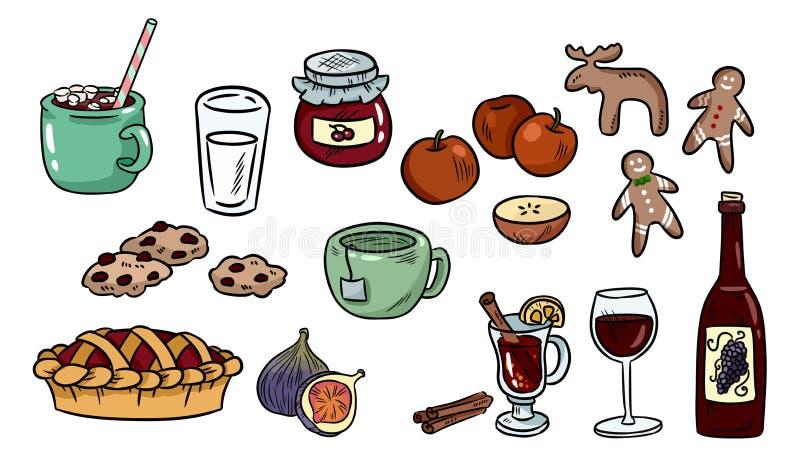 St?ll in av gulliga matklotter Hygge matklisterm?rkear f?r stadsplanerare och botebooks Kakao paj, funderat vin, ljust r?dbrun ka stock illustrationer