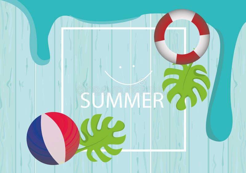 St?ll in av gulliga sommarsymboler: mat, drinkar, palmblad, frukter och flamingo Ljus sommartidaffisch Samling av scrapbooking royaltyfri illustrationer
