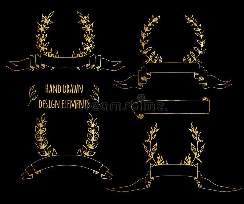 St?ll in av handdrawn tappningbest?ndsdelar Band pilar, lagerkrans, sidadeviders Utdraget skissat f?r hand, vektor royaltyfri illustrationer