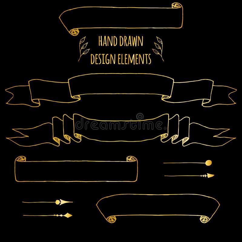 St?ll in av handdrawn tappningbest?ndsdelar Band pilar, lagerkrans, sidadeviders Utdraget skissat f?r hand, vektor vektor illustrationer