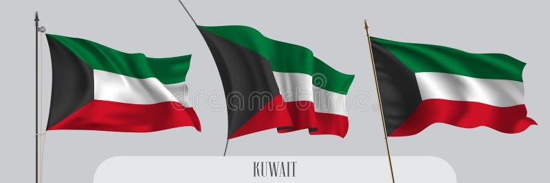 St?ll in av Kuwait den vinkande flaggan p? isolerad bakgrundsvektorillustration royaltyfri illustrationer