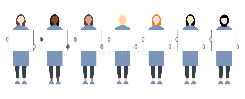 St?ll in av kvinnliga tecken f?r det olika loppet som rymmer ett tomt plakat Kvinnar?tter vektor illustrationer