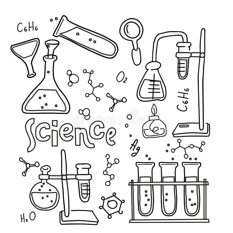 St?ll in av laboratoriumutrustning i svartvit skisserad klotterstil Utdragen barnslig kemi f?r hand och vetenskapssymbolsupps?ttn royaltyfri illustrationer