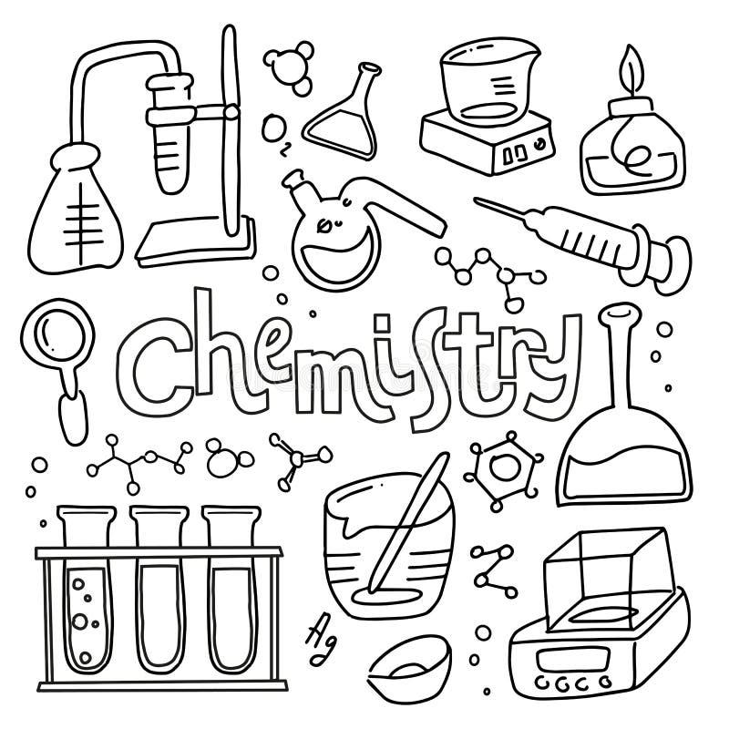 St?ll in av laboratoriumutrustning i svartvit skisserad klotterstil Utdragen barnslig kemi f?r hand och vetenskapssymbolsupps?ttn vektor illustrationer