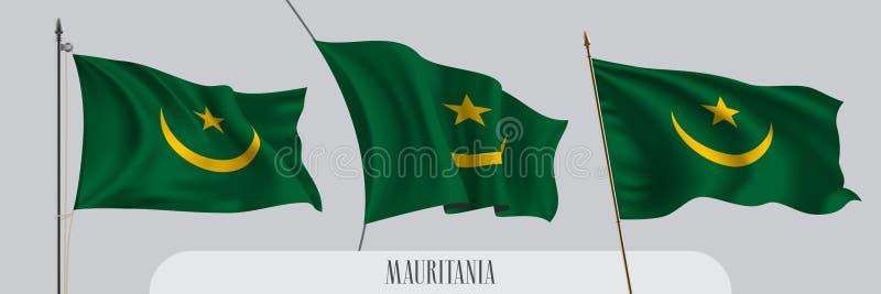 St?ll in av Mauretanien den vinkande flaggan p? isolerad bakgrundsvektorillustration stock illustrationer