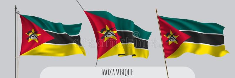 St?ll in av Mocambique den vinkande flaggan p? isolerad bakgrundsvektorillustration vektor illustrationer