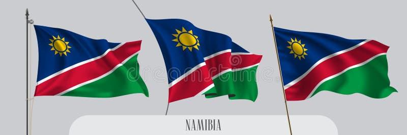 St?ll in av Namibia den vinkande flaggan p? isolerad bakgrundsvektorillustration royaltyfri illustrationer