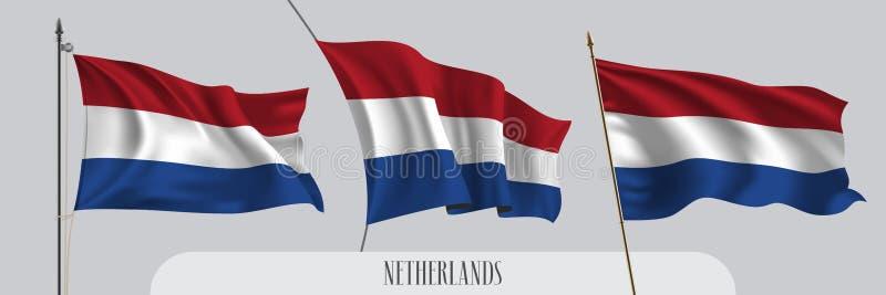 St?ll in av Nederl?nderna som vinkar flaggan p? isolerad bakgrundsvektorillustration royaltyfri illustrationer