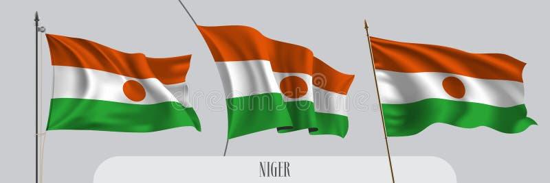 St?ll in av Niger den vinkande flaggan p? isolerad bakgrundsvektorillustration stock illustrationer