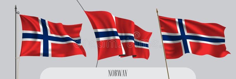 St?ll in av Norge den vinkande flaggan p? isolerad bakgrundsvektorillustration royaltyfri illustrationer
