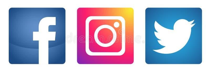 St?ll in av popul?r social f?r den Instagram Facebook Twitter f?r massmedialogosymboler vektor best?ndsdelen p? vit bakgrund stock illustrationer