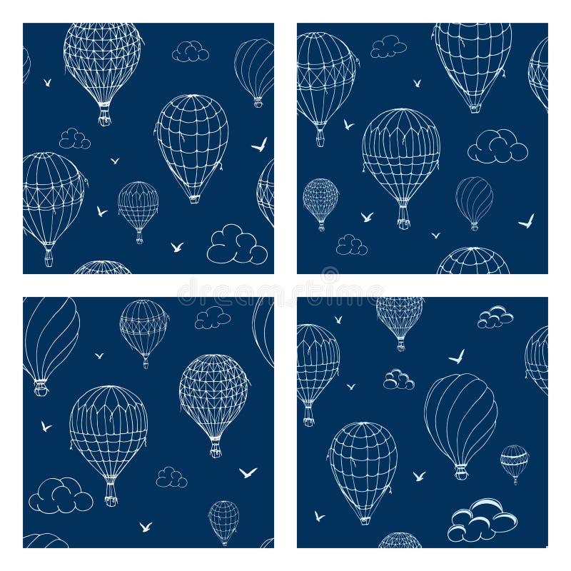 St?ll in av s?ml?s modell med ballonger i monokromma f?rger M?nga olikt kul?ra randiga luftballonger som flyger i stock illustrationer