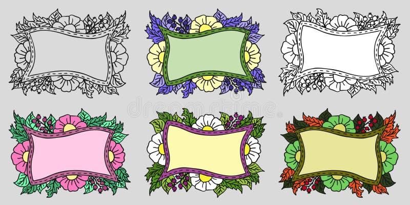 St?ll in av sex utdragna blom- ramar f?r hand med blommor, b?r och sidor i klotterstil ocks? vektor f?r coreldrawillustration royaltyfri illustrationer