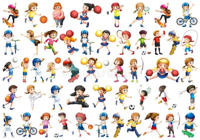 St?ll in av sportungar vektor illustrationer