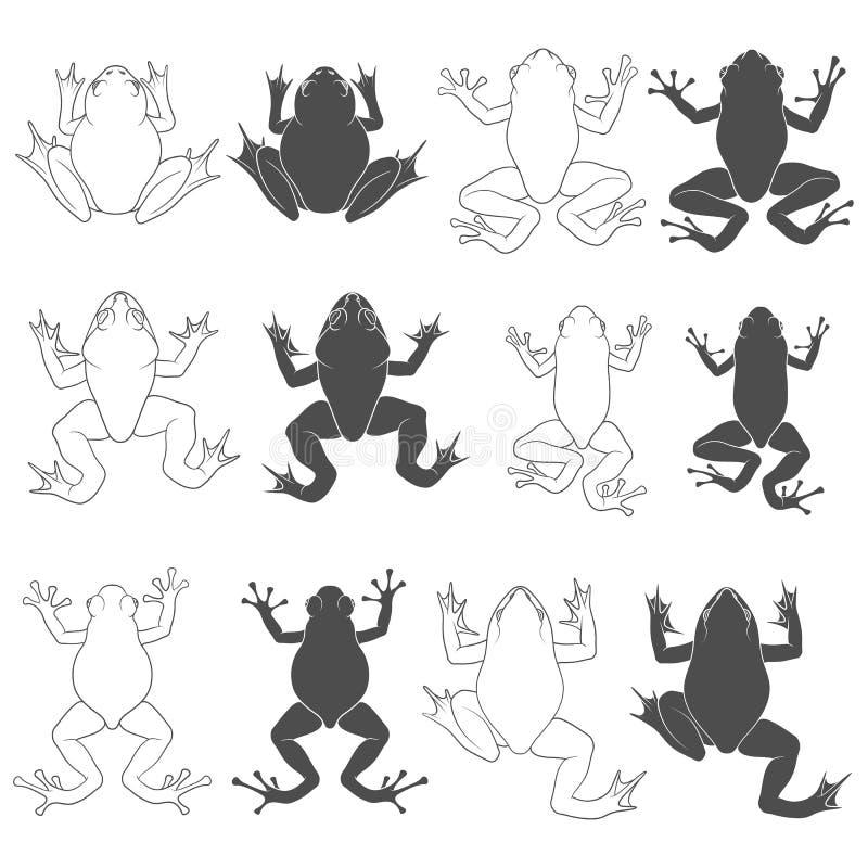 St?ll in av svartvita illustrationer med tr?d- och flodgrodor Isolerade vektorobjekt vektor illustrationer