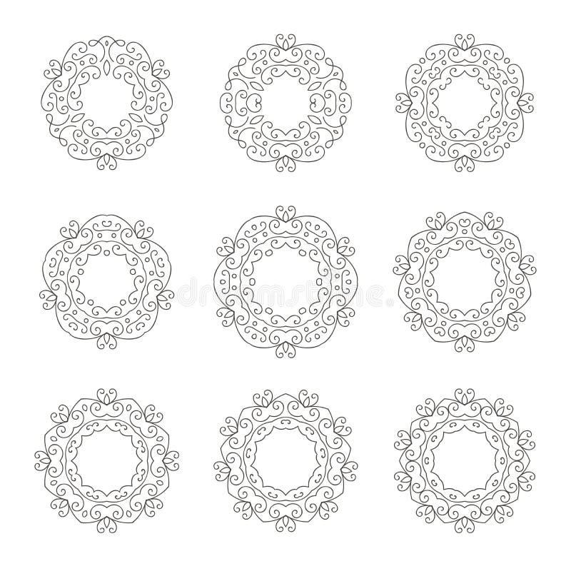 St?ll in av utdragen retro blom- ram f?r elegant hand nio stock illustrationer