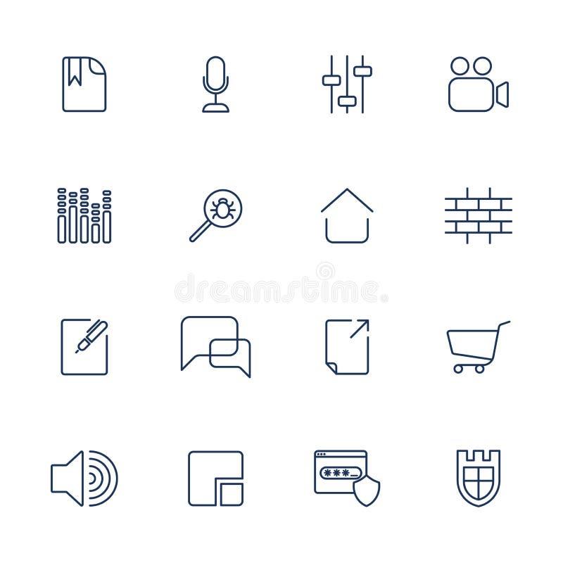 St?ll in av 16 vektorsymboler f?r programvara, applikation eller websites - socialt massmedia och teknologi vektor illustrationer