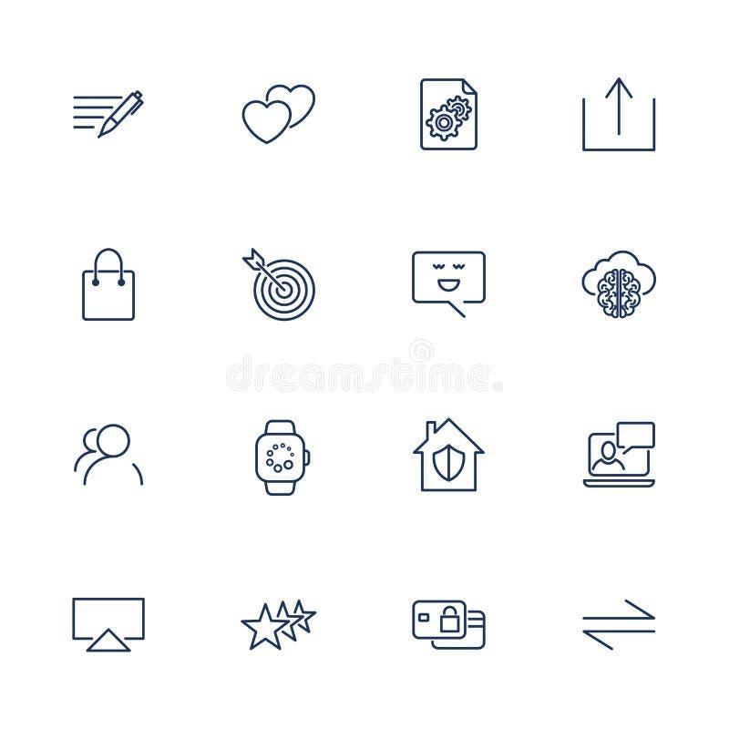 St?ll in av 16 vektorsymboler f?r programvara, applikation eller websites - socialt massmedia och teknologi royaltyfri illustrationer