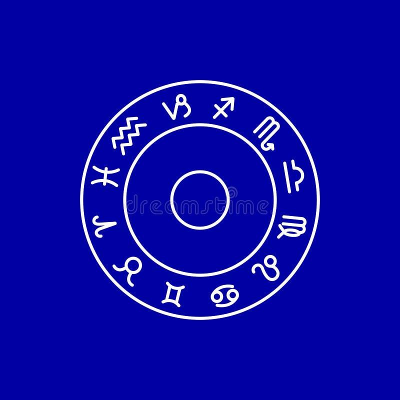 St?ll in av zodiakteckensymboler horoskopet stock illustrationer