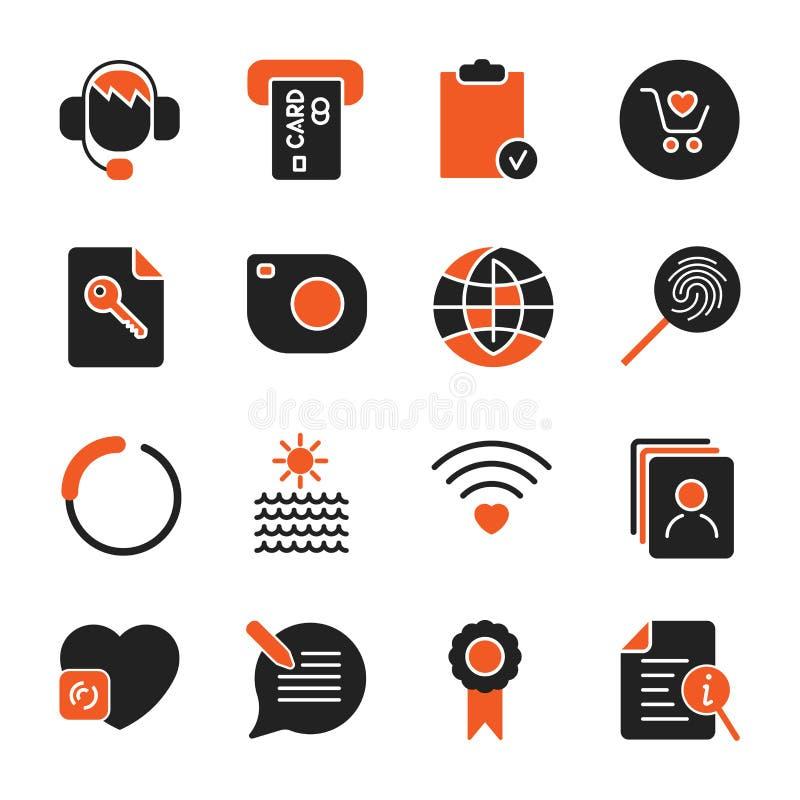 St?ll in med olika symboler f?r apps, program, platser och annan set f?r aff?rssymbolskontor vektor illustrationer