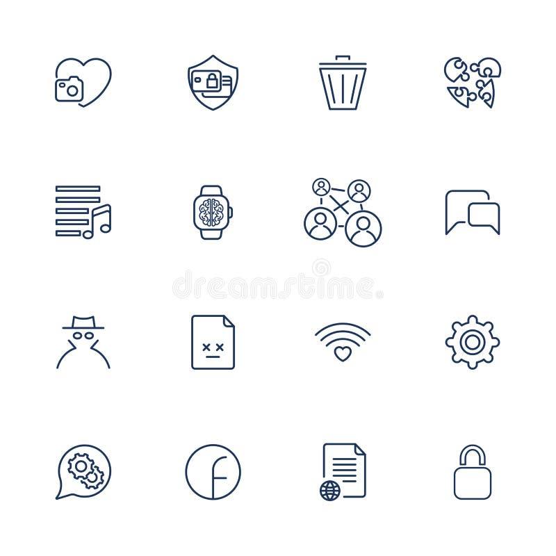 St?ll in med 16 symboler f?r mobilen app, platser, mobilen, programvara royaltyfri illustrationer