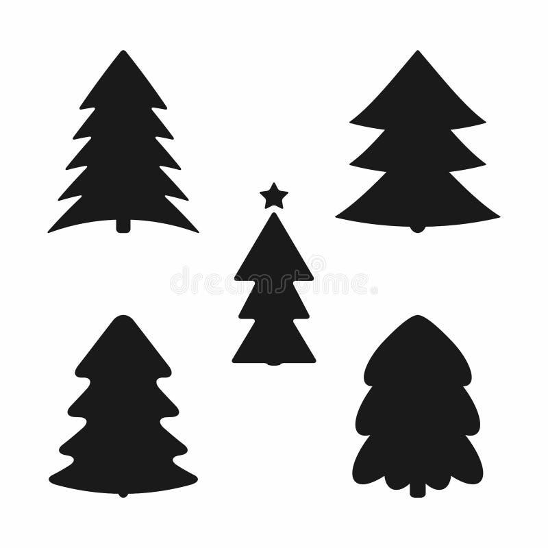 st?ll in silhouettestrees Samling av svarta symboler, symboler, logoer stock illustrationer