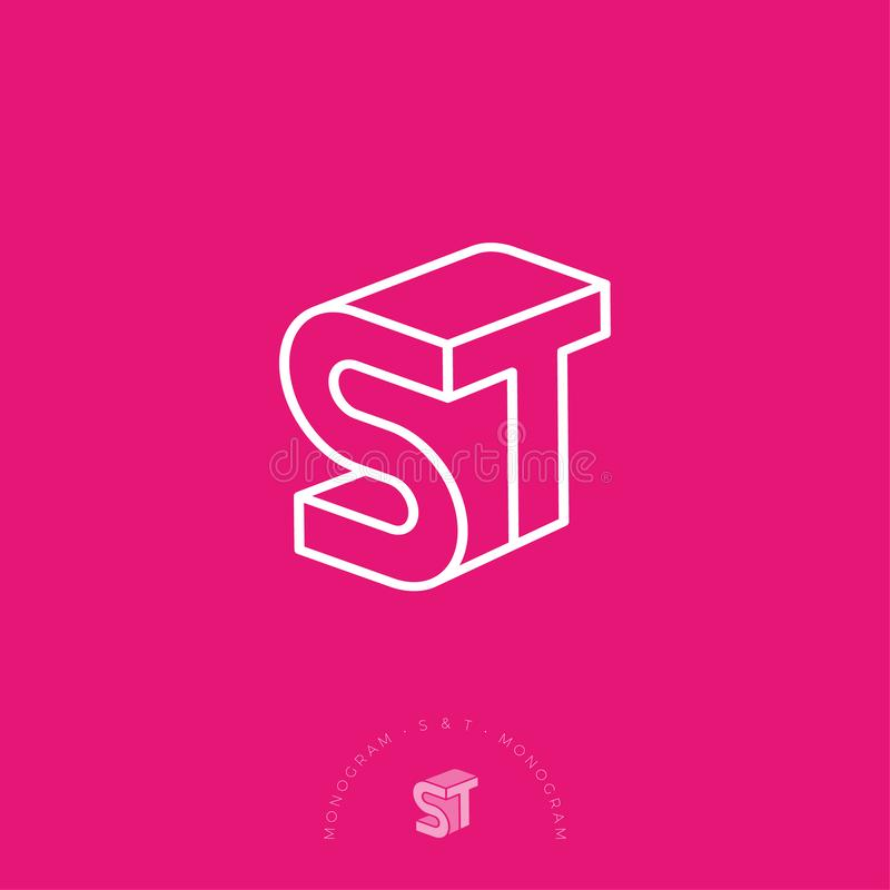 ST logo. S and T letters. White linear emblem as 3D on a pink background. stock illustration