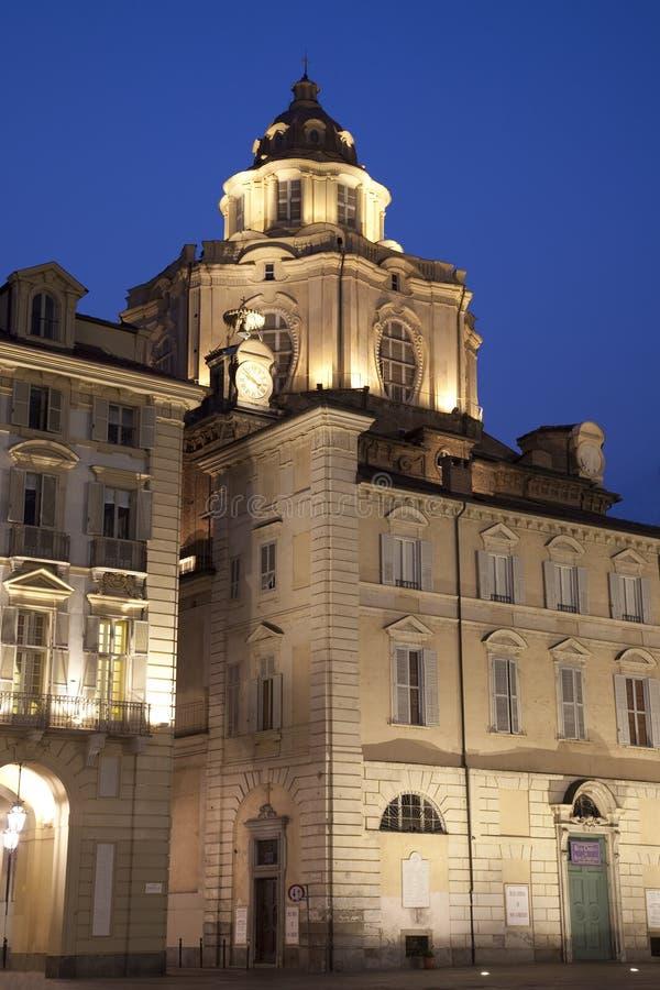 St Lorenzo Church, Turin. St Lorenzo Church illuminated at night in Turin, Italy stock photo