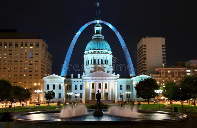 St. Louis. Downtown with Old Courthouse at night