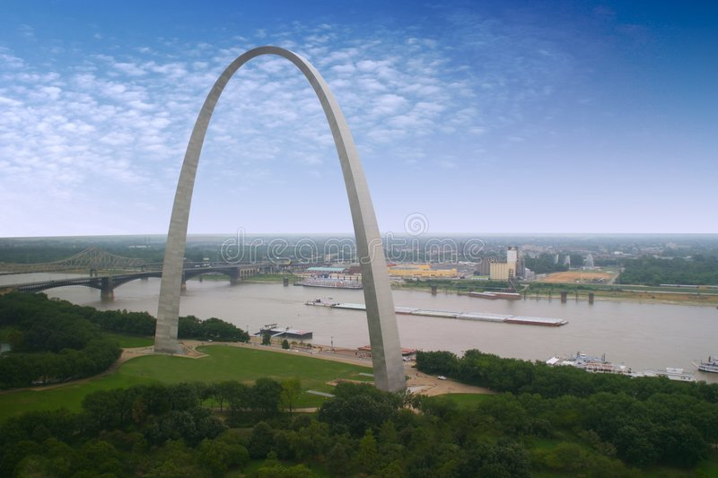 St. Louis Arch and a barge stock images