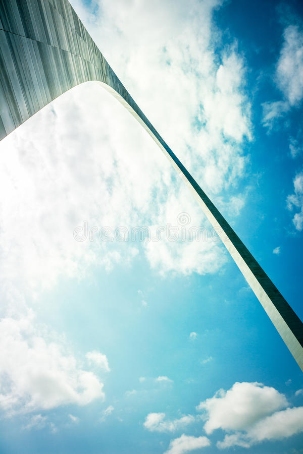St. Louis Arch Detail. Wide angle view of the St. Louis Gateway Arch with cross processed filtered effect stock images