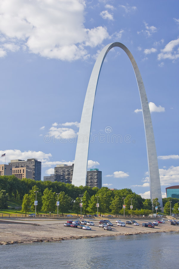 St. Louis Arch and river walk stock image