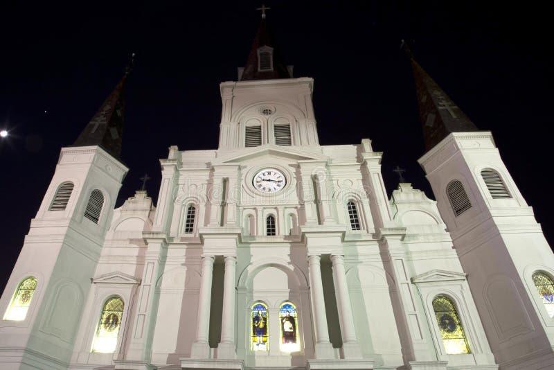 St Louis Cathedral en la noche imagen de archivo libre de regalías