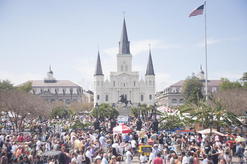 St Louis Cathedral During French Quarter Fest royalty-vrije stock afbeeldingen