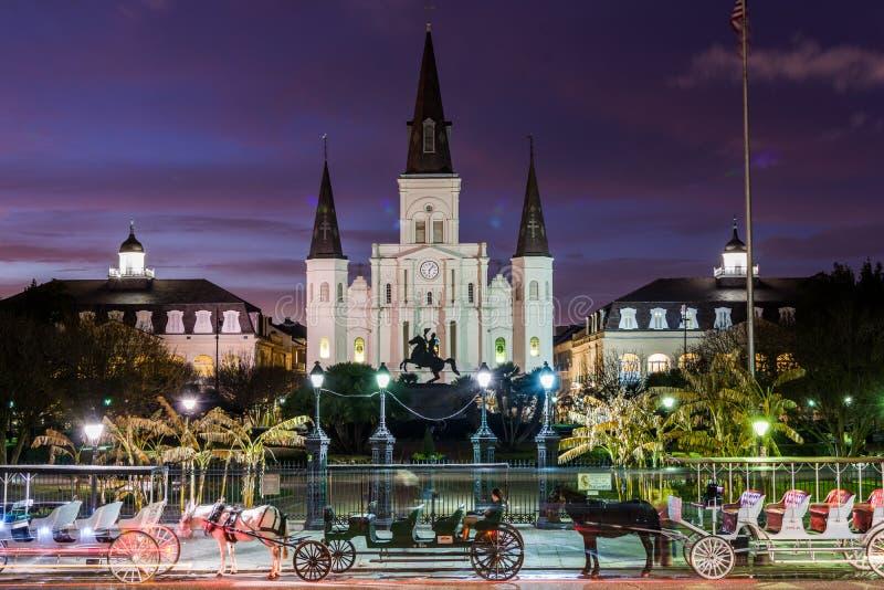 St Louis Cathedral i Jackson Square i New Orleans, Louisiana arkivbilder