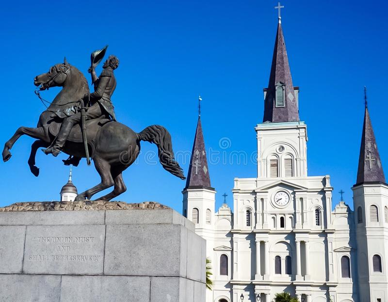 The St Louis Cathedral in Jackson Square of the French Quarter in New Orleans Louisiana. The St Louis Cathedral and water fountain in Jackson Square of the royalty free stock images