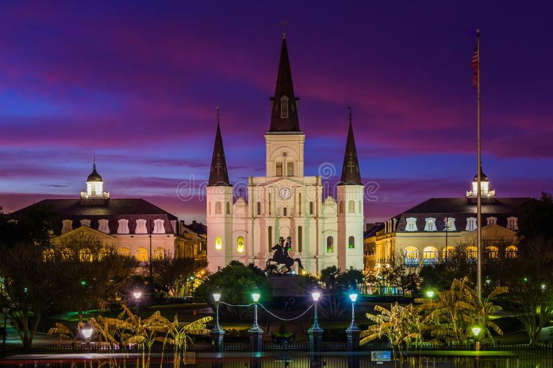 St. Louis Cathedral at night, in the French Quarter, New Orleans, Louisiana stock photos