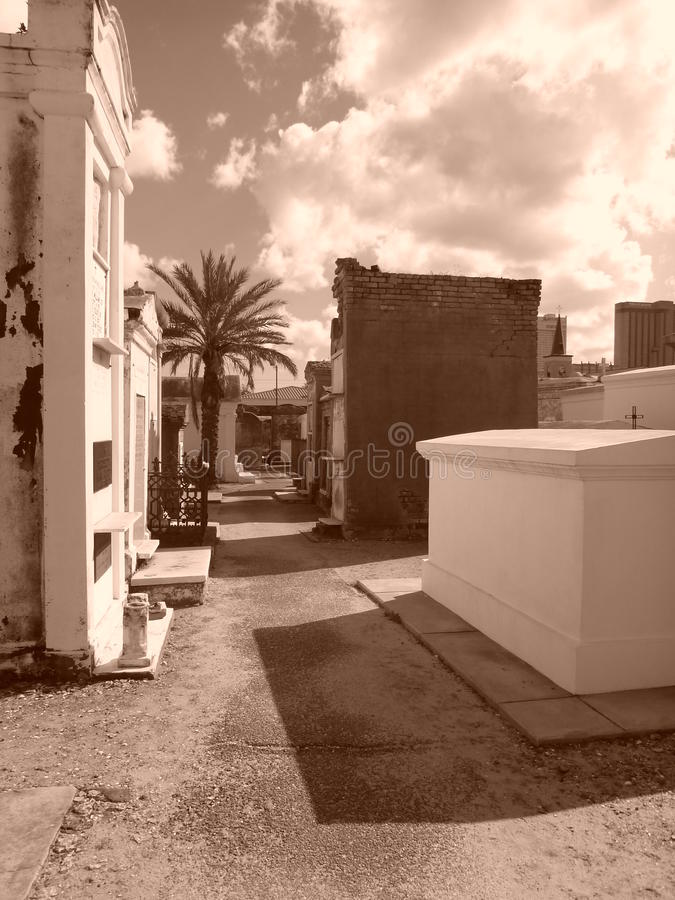St. Louis Cemetery No. 1. Creepy and desolate cemetery tombs amongst the ruins in New Orleans, Louisiana. Location of Voodoo Queen Marie Laveau& x27;s remains royalty free stock photography