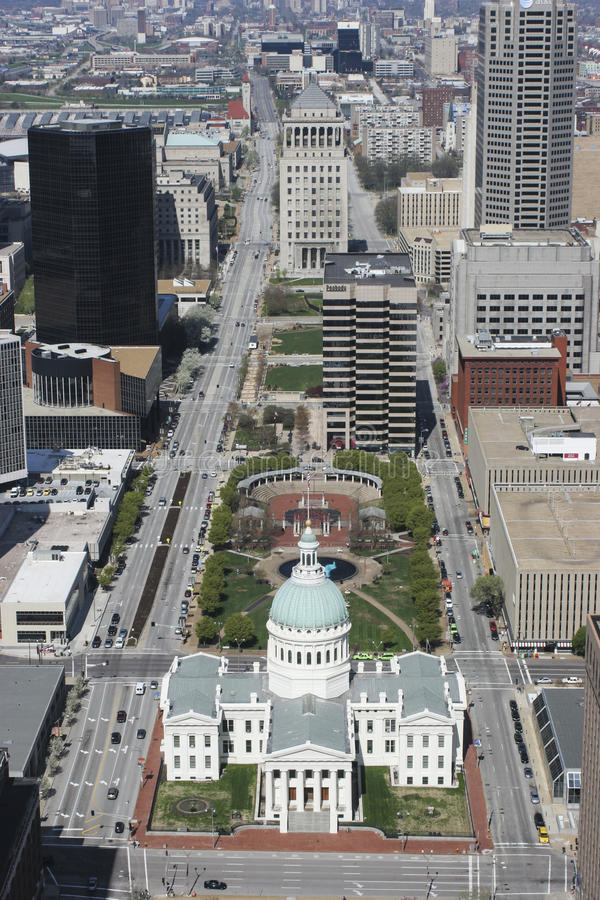 St. Louis - Circa May 2008: Downtown and the Old Courthouse from the top of the Gateway Arch in St. Louis III royalty free stock photo