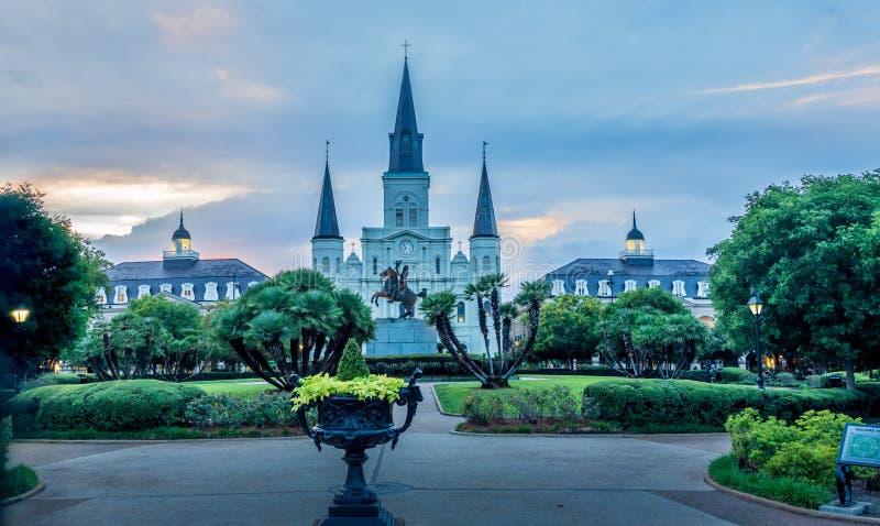 St Louis katedra i Jackson kwadrat, Nowy Orlean, los angeles obraz royalty free