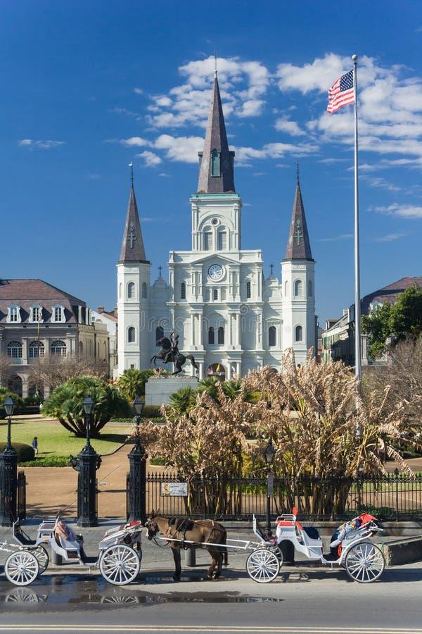 St Louis katedra i Jackson kwadrat w dzielnicie francuskiej, Nowy Orlean, Luizjana obrazy royalty free