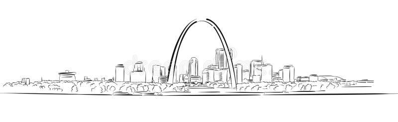 St Louis, Missouri, croquis tiré par la main d'ensemble illustration stock