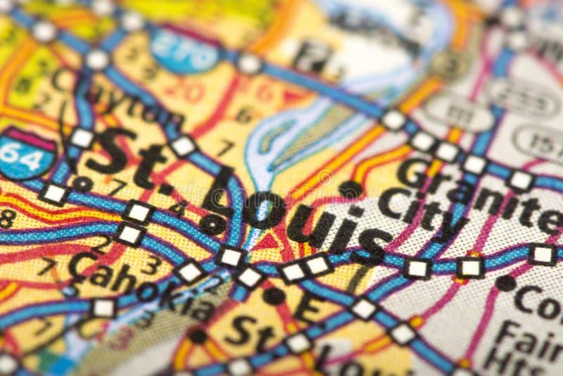 St. Louis, Missouri en mapa fotografía de archivo libre de regalías