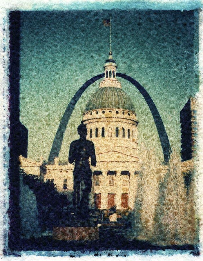 St Louis, Missouri, Etats-Unis - vers 2014 - vieux tribunal, statue courante de fontaine d'homme et passage dans la plaza du cent illustration de vecteur