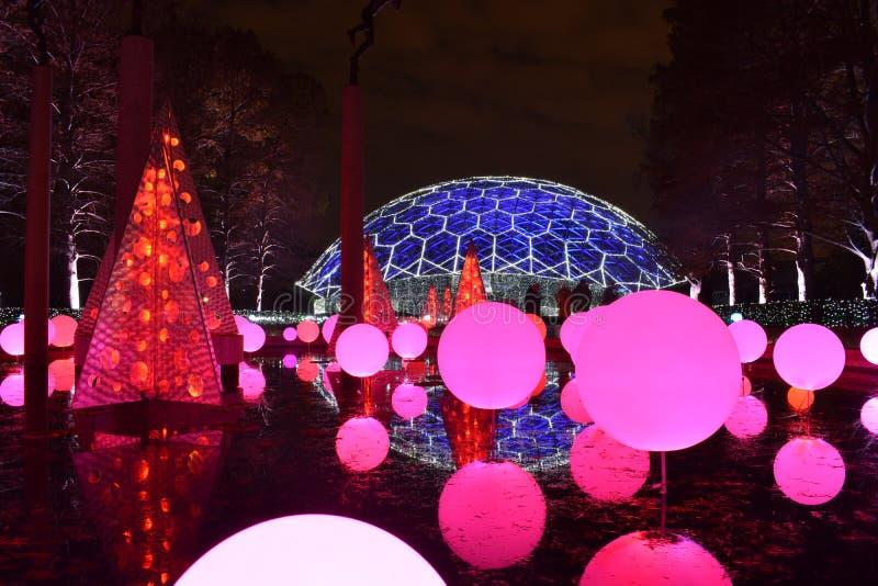 St. Louis, Missouri, los E.E.U.U. - 22 de noviembre de 2017: Jardín botánico de Missouri del resplandor del jardín imagen de archivo