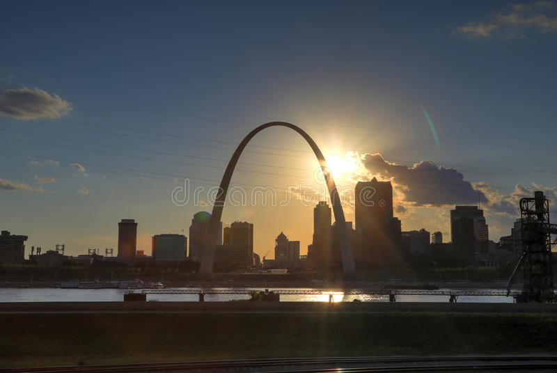 St. Louis, Missouri Skyline. And the Gateway Arch in St. Louis, Missouri stock image