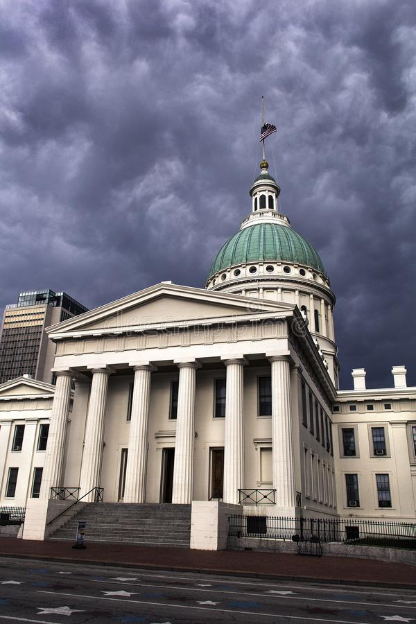 St Louis, Missouri, United States-circa 2014-Old Courthouse glowing white, dark storm clouds dramatically looming in background. St Louis Old Courthouse in stock images