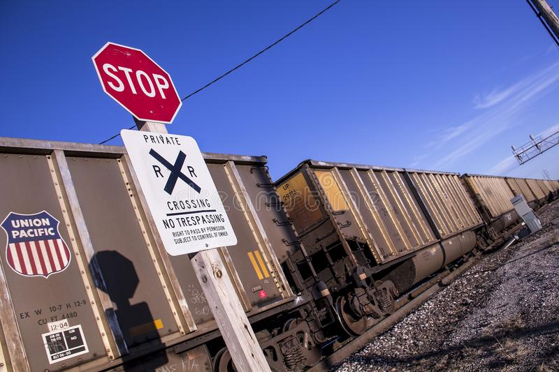 St Louis, Missouri, United States - circa 2015 - Stop Sign Railroad Crossing No Trespassing Union Pacific Train royalty free stock photos